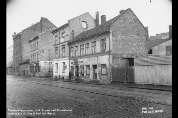 Vognmannsgata i 1958. Fotograf: Erik Næss. Fra arkivet etter Tunnelbanekontoret (A-40209/Uea/0002/018).