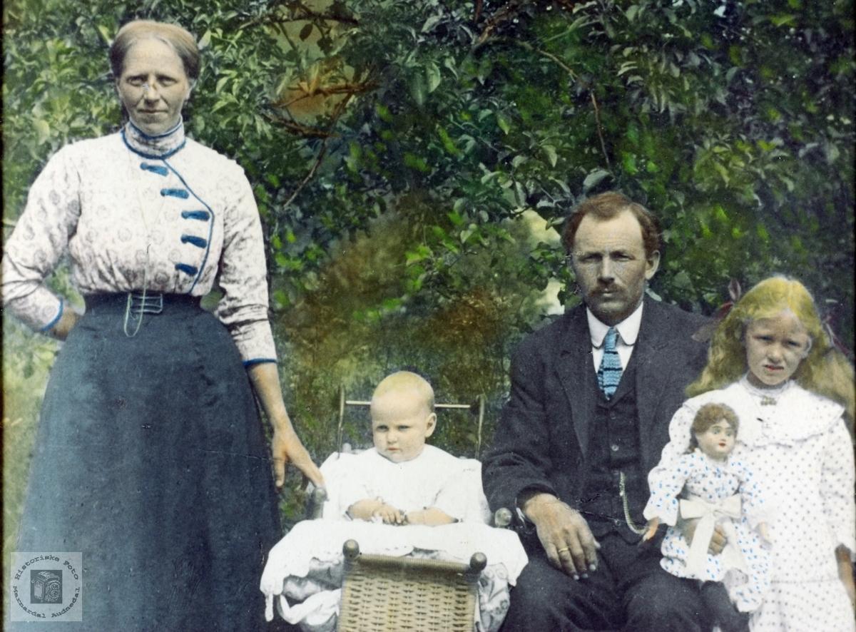 Kollorert familiebilde av familien Høyland. Grindheim Audnedal.