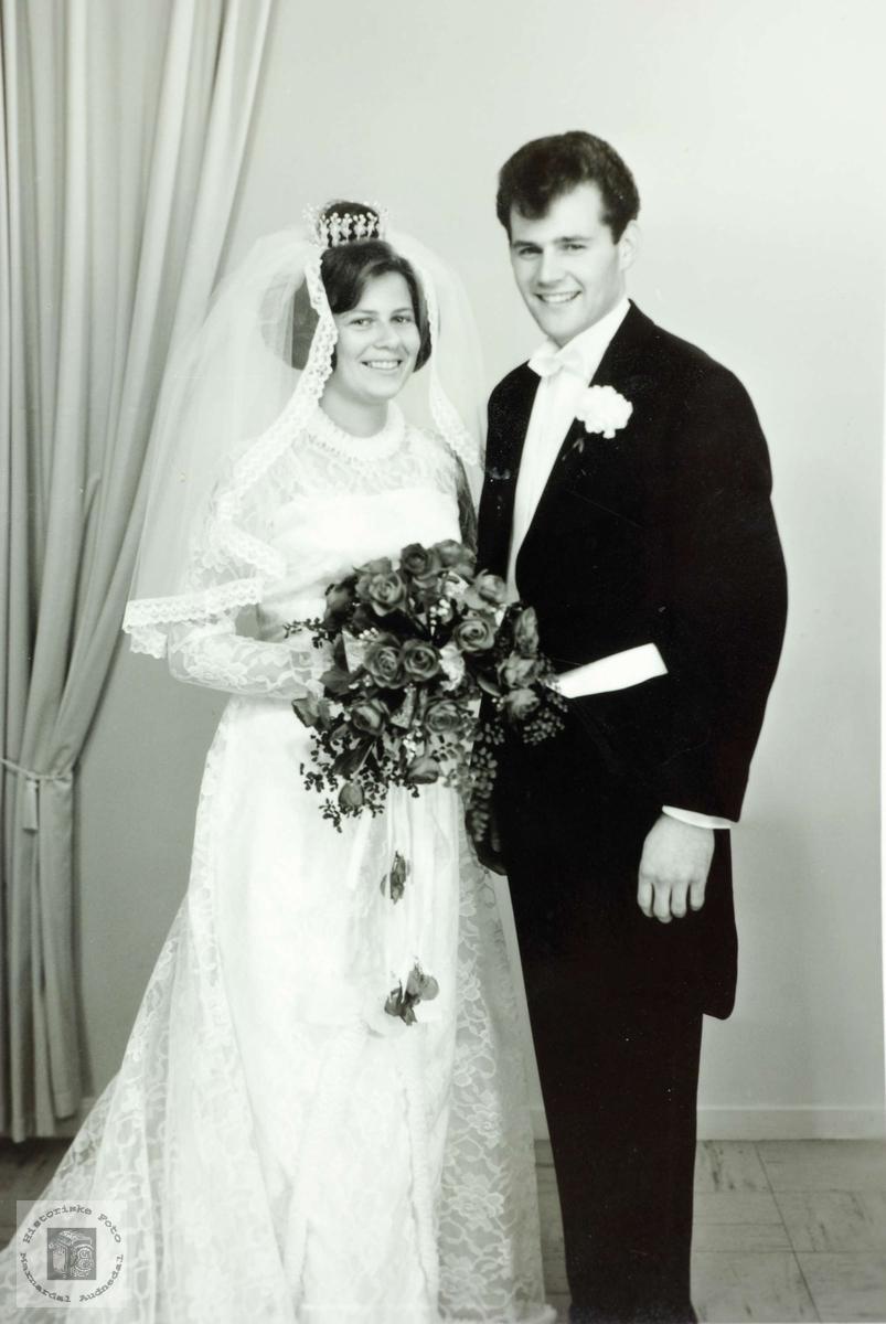 Brudeparet Inger Marie Flottorp fra Audnedal og Rolf Wæthe fra Songdalen.
