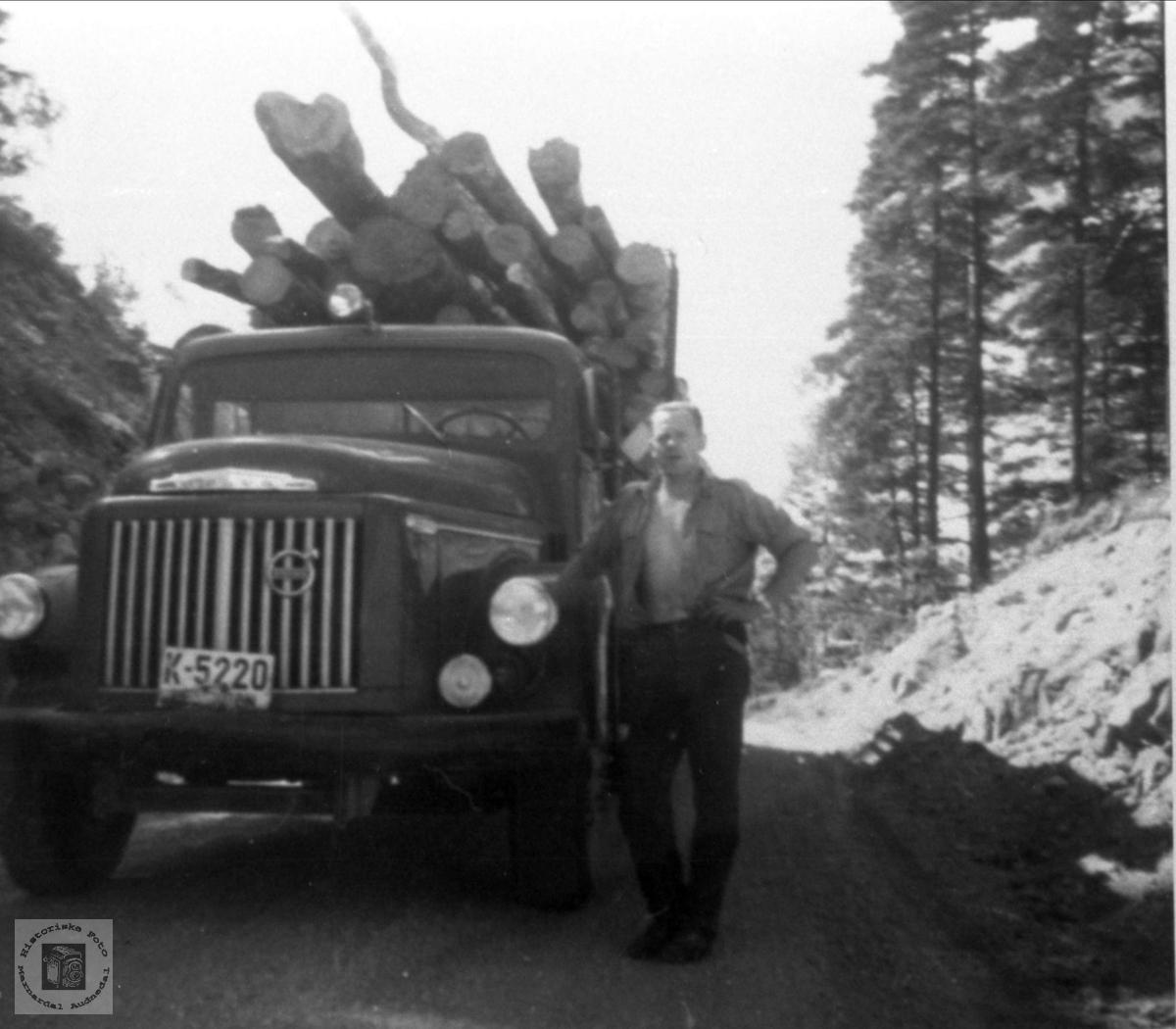 Tømmertransport, Bjelland.