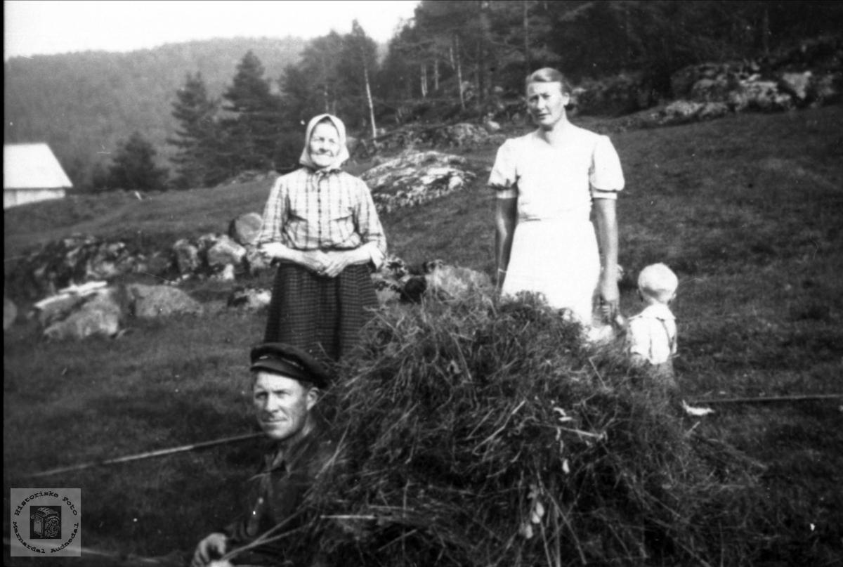 Med høybøra klar på ryggen, Rosseland Bjelland.