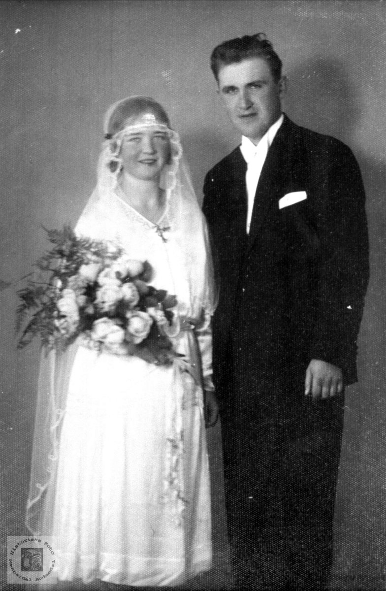 Bryllupsbilde Olga og Alfred Høye, Øyslebø.