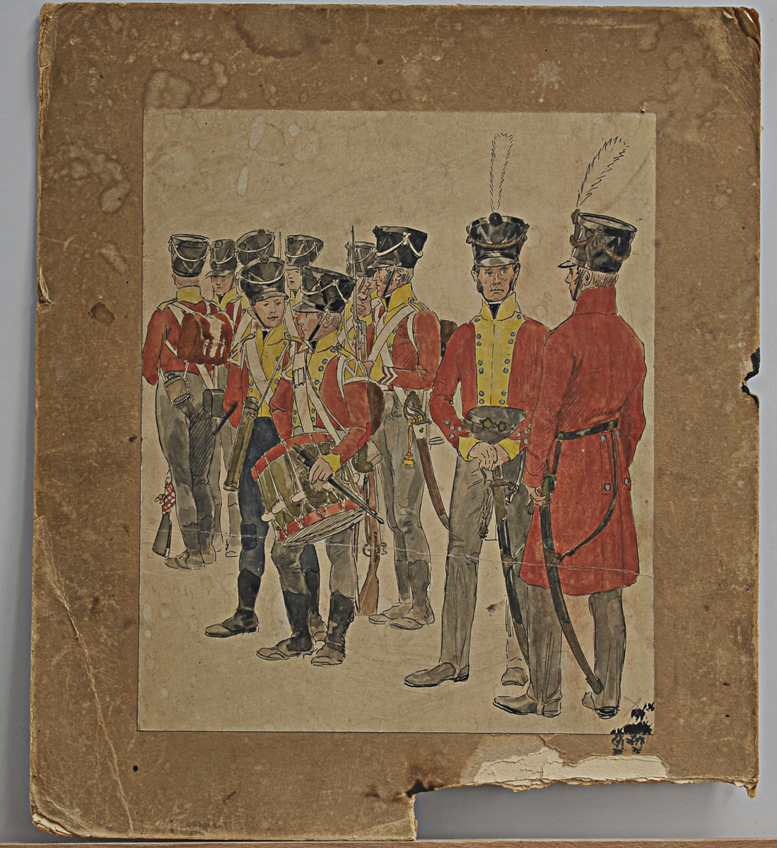 Soldater, infantrister i det 2. Trondhjemske infanteri regiment av 1814.