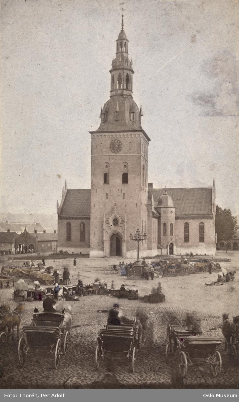 torg, torghandel, gatebelysning, Fiat Lux, hestekjøretøyer, mennesker, Vår Frelsers kirke