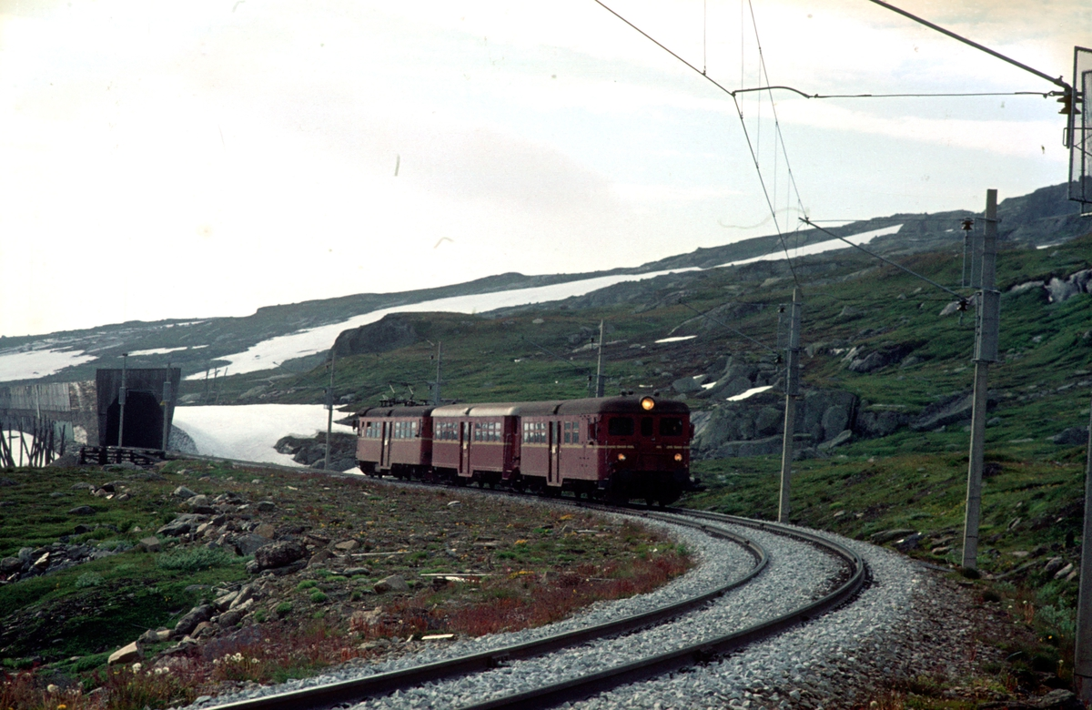 Langs Rallarvegen. Bergensbanen. Tog fra Flåm til Ål med type 65c ved Sandå vokterbolig.