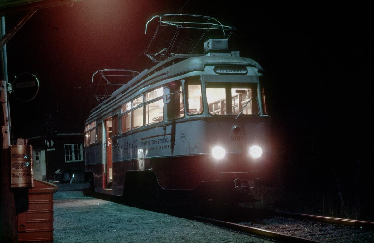 Ekebergbanen, Oslo Sporveier. Vogn 1001 i pendeldrift Ljabru - Holtet.