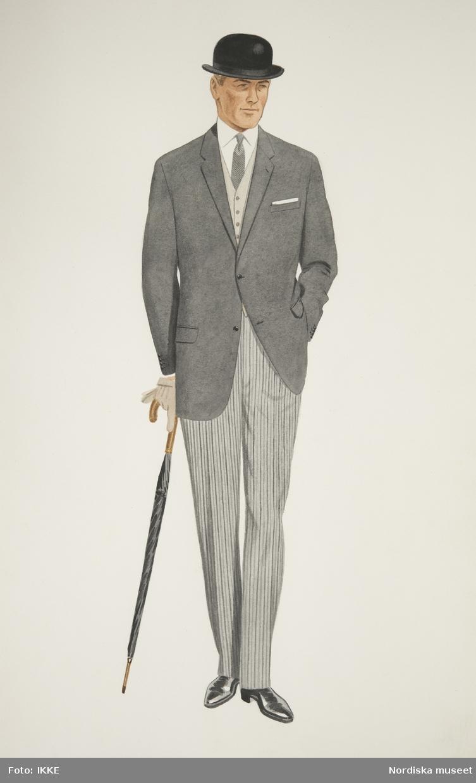 Modeteckning av man i mörkgrå kavaj, randiga byxor, ljusgrå väst, kubb och paraply i handen. Nordiska Kompaniets herrskrädderi.