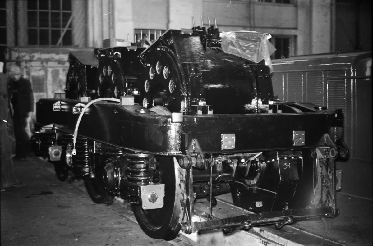 Boggie til NSB elektrisk lokomotiv type El 14. Boggi type SLM, tre-akslet utførelse.