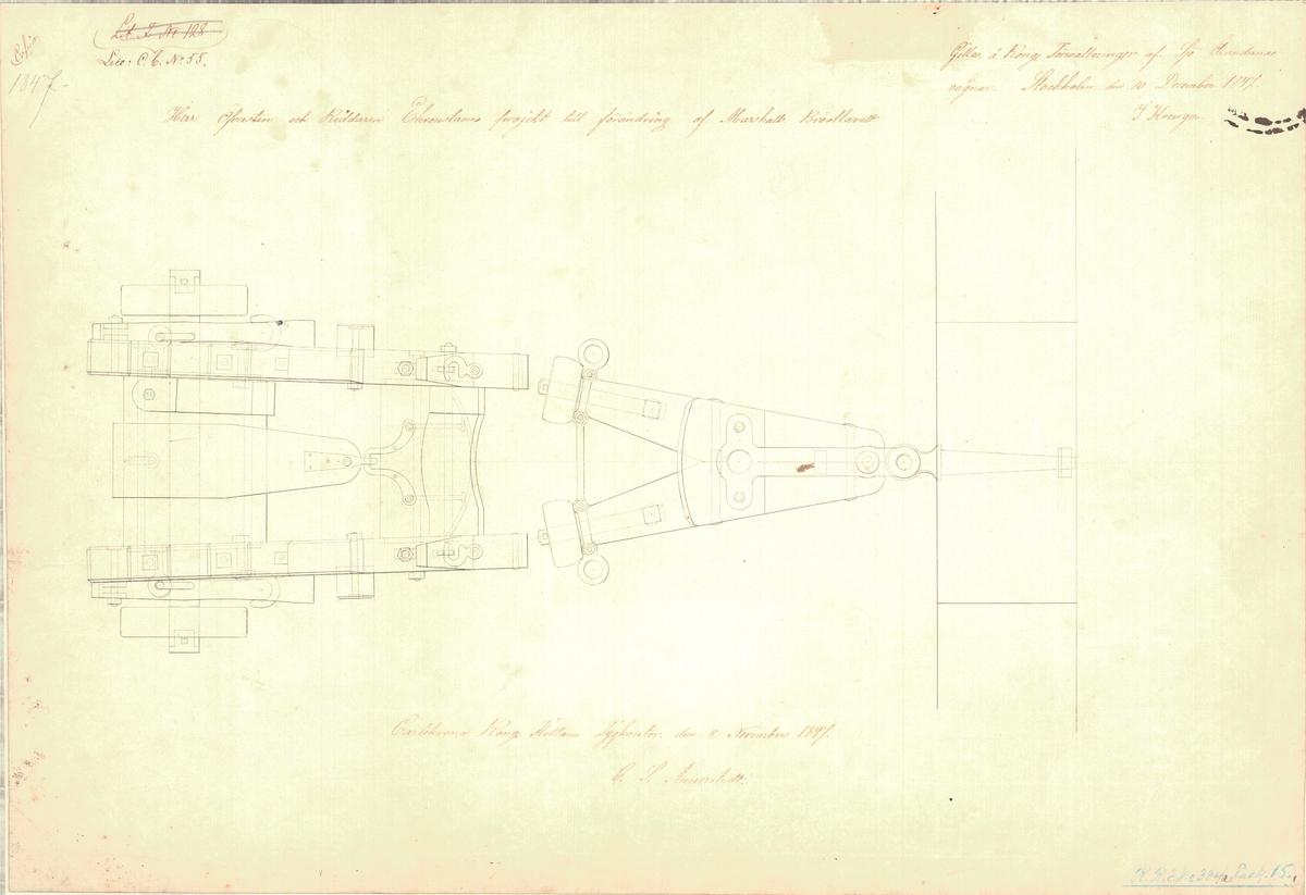Herr översten och riddaren Ehrenstams projekt till förändring av Marshalls bröstlavett, 2 st ritningar