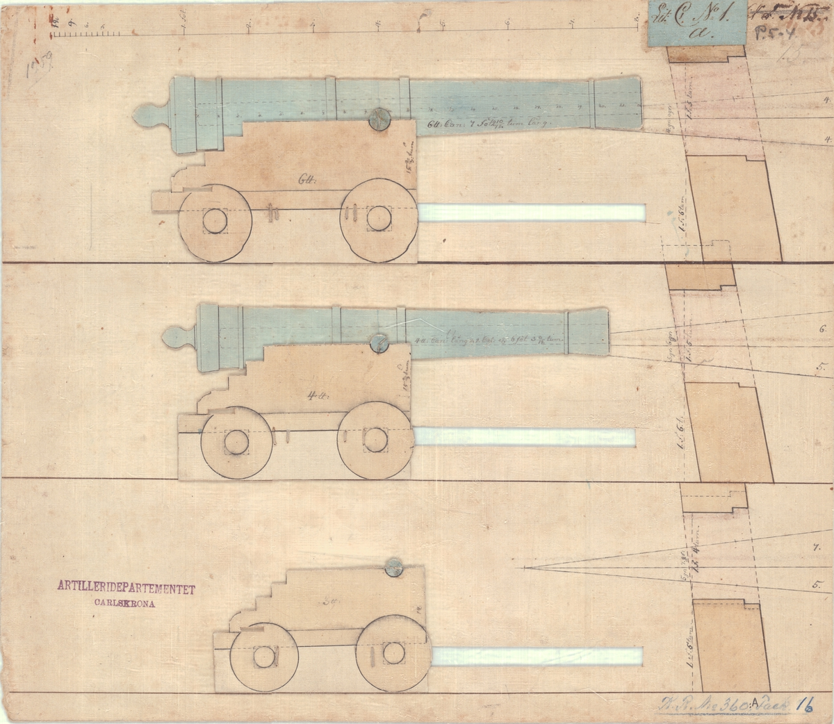 2 st projekt till styckeportar och lådors proportioner för 3,4 och 6 pundiga kanoner.