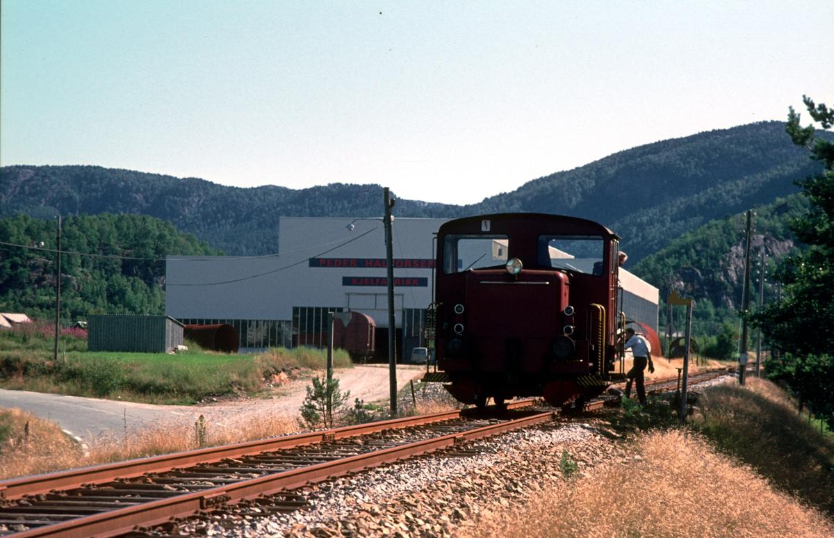 Godstoget Sira - Flekkfjord skifter ved S. Halvorsen Sønner sidespor.