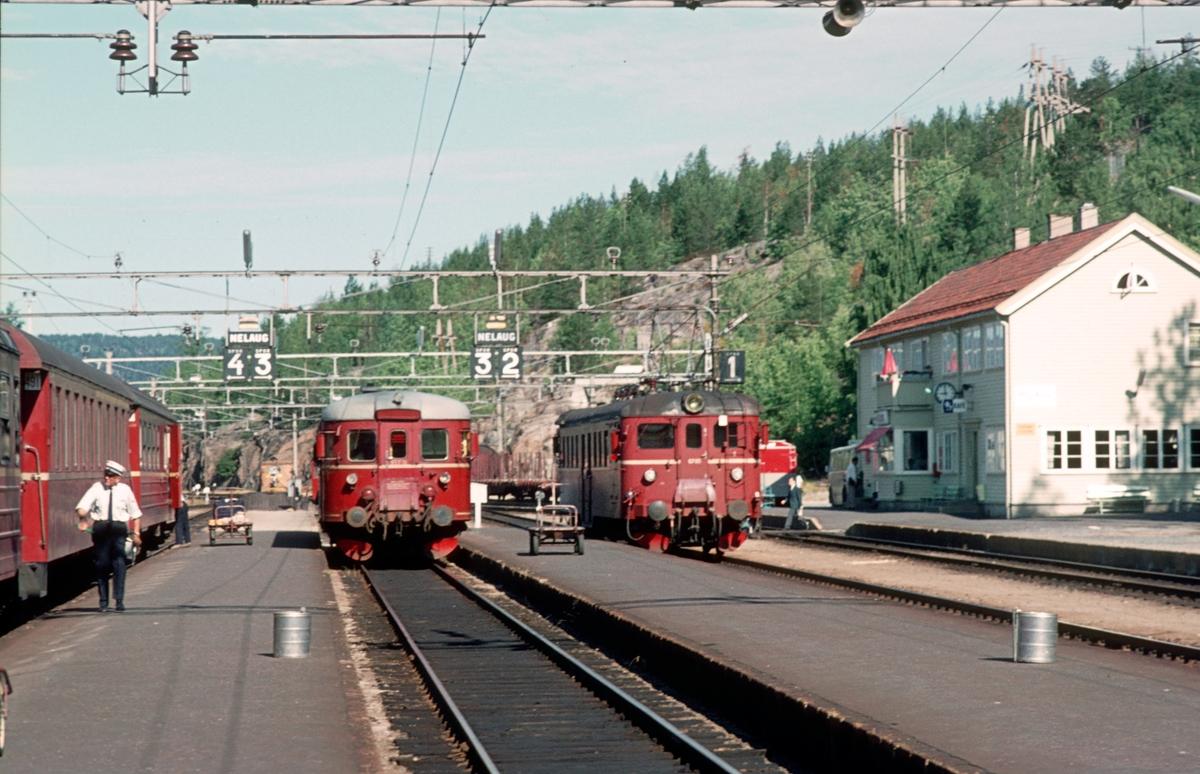 "Nelaug stasjon. Tog 702 til Oslo, tog til Arendal med type 86 og tog Lunde - Kristiansand med type 68A (""Lundefuglen"")."