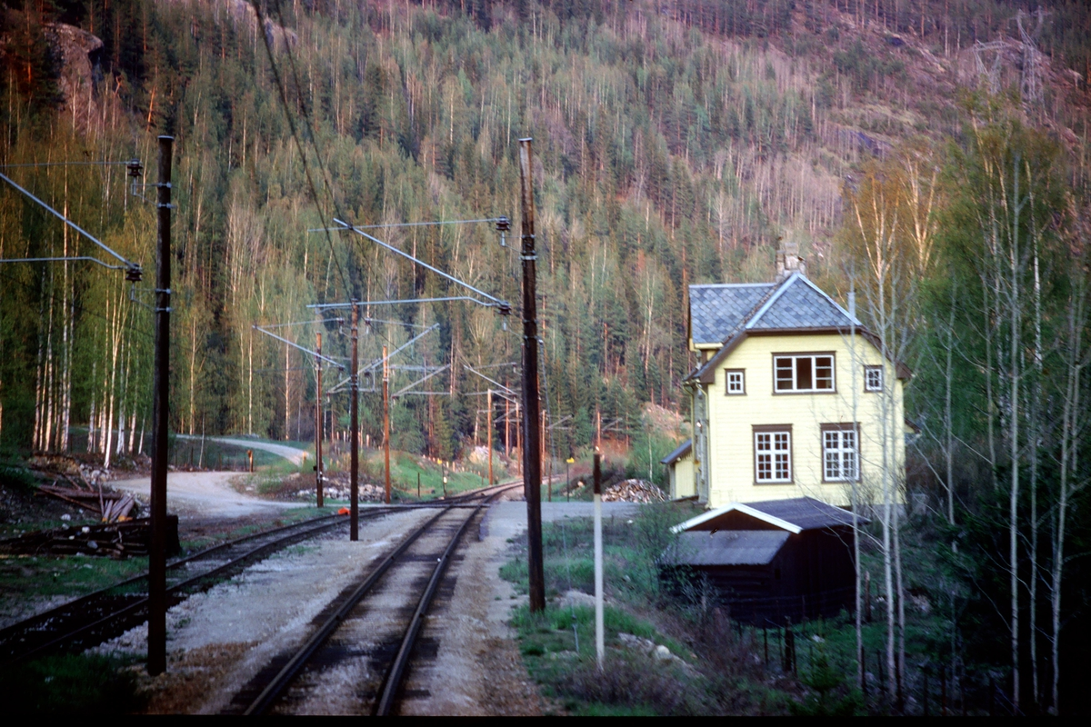Bergheim tidligere stoppested og lasteplass, sett fra lokomotivet i tog 64 (Bergen - Oslo Ø).