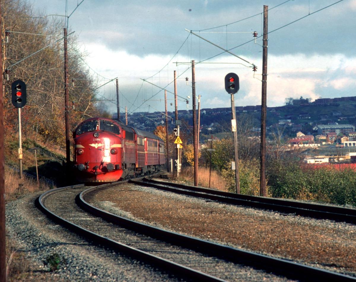 Rørosbanens dagtog, tog 302, kjører inn på Selsbakk stasjon. NSB dieselelektrisk lokomotiv Di3 606 og vogner type 3.