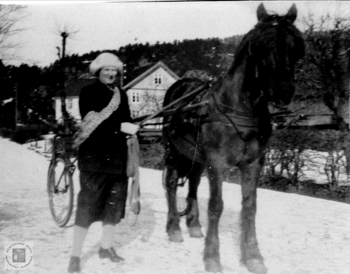 Travhesten og Ragna Lauvdal.