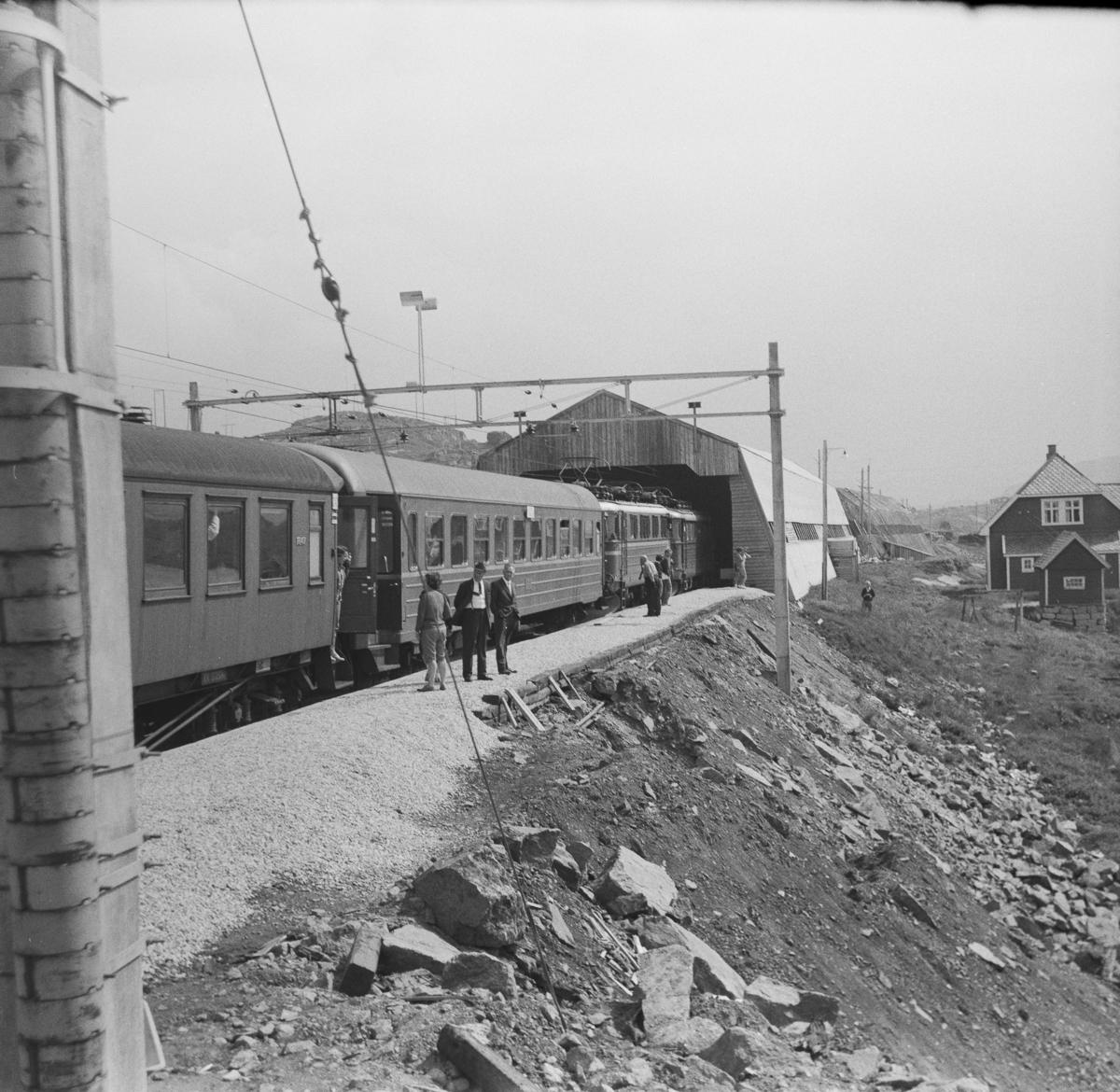 Dagtoget Bergen-Oslo på Finse stasjon.