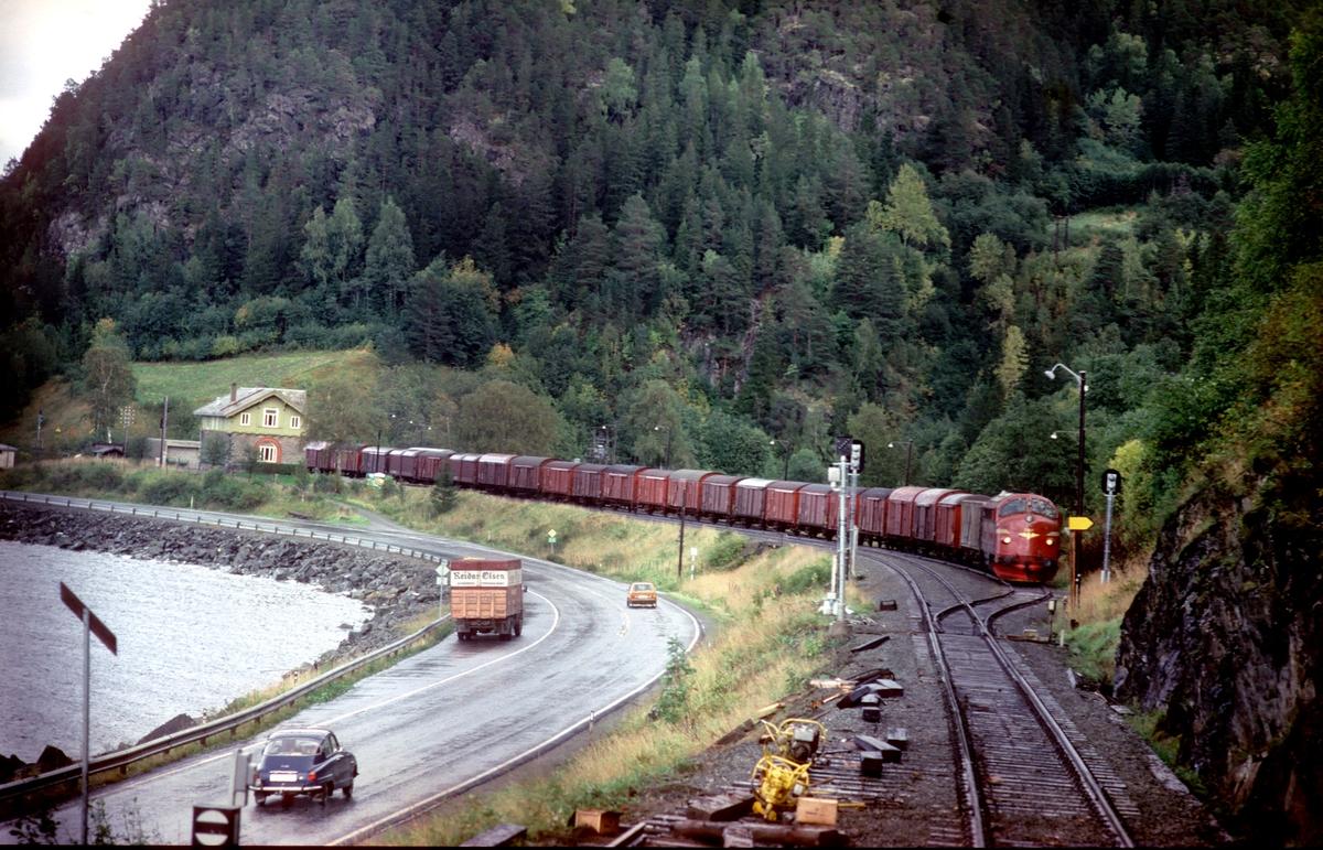 Kryssing mellom godstogene 5793, som bildet er tatt fra, og 5794 i Langstein stasjon. Langstein er fjernstyrt fra togledelsen i Trondheim.