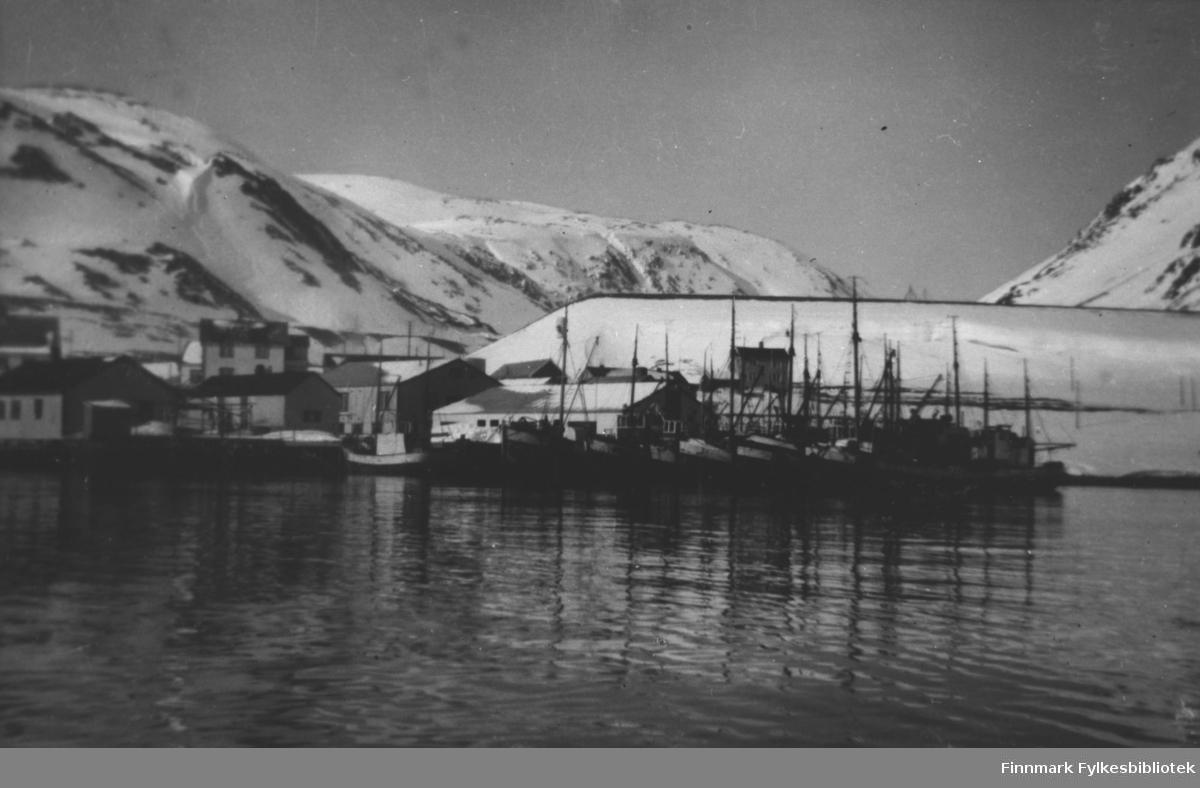 Et bilde fra Tyfjord hamn. Flere båter ligg ved kai hos Warholm anlegg. Bak dem bolighus. Bildet er tatt fra sjøen.  Landskapet er dekt av snø.