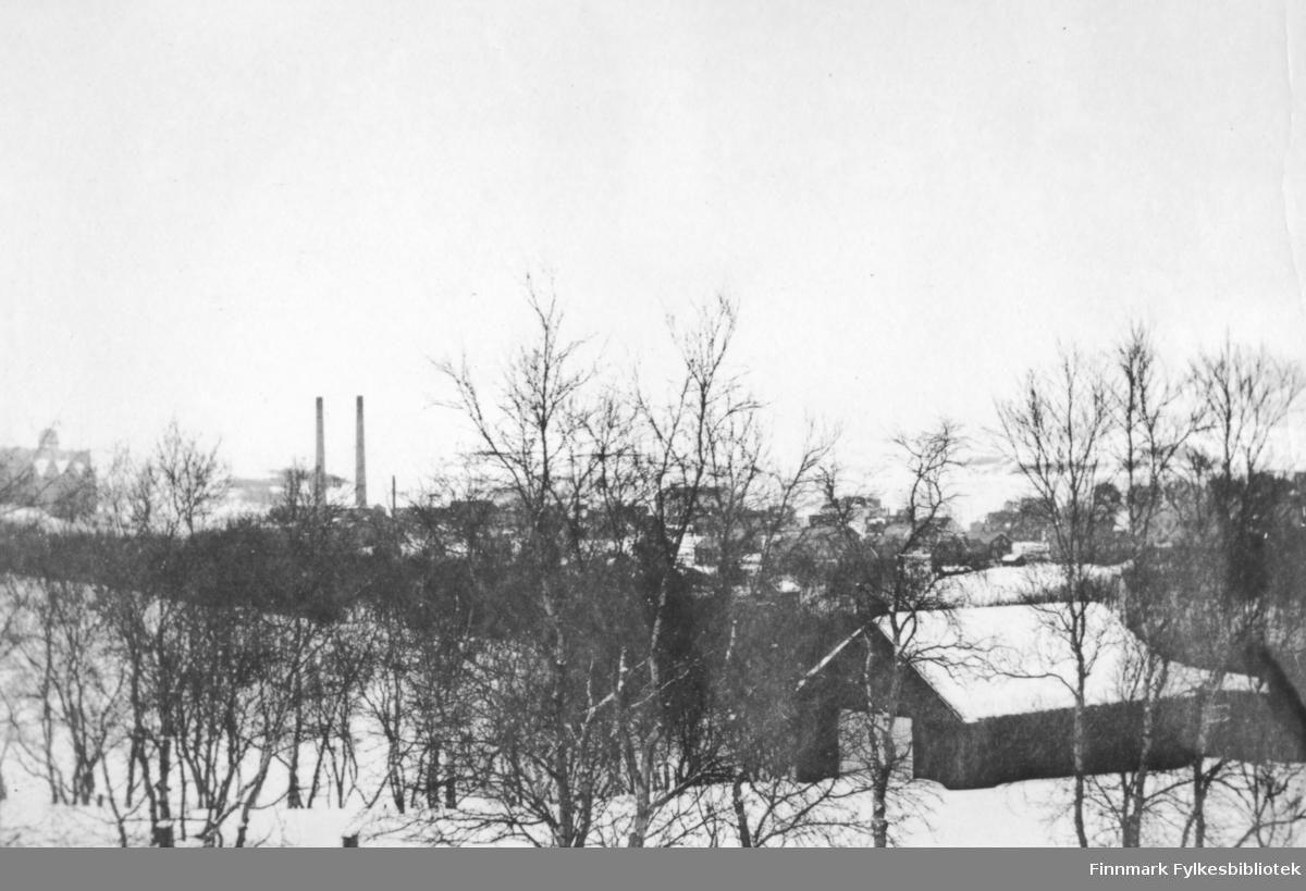 Fotografi fra Kirkenes en vinterdag. På bildet ser man utover Kirkenes sentrum med sine bygninger og hus. Snøen ligger på tak og på bakken. Midt på bildet til venstre ser man skorsteinene til dampsentralen. Den tilhører AS Sydvaranger gruveselskap. Foran i bildet står det nakne trær. Det står et uthus eller en garasje nederst til høyre. Fjellene ligger hvite i bakgrunnen av bildet