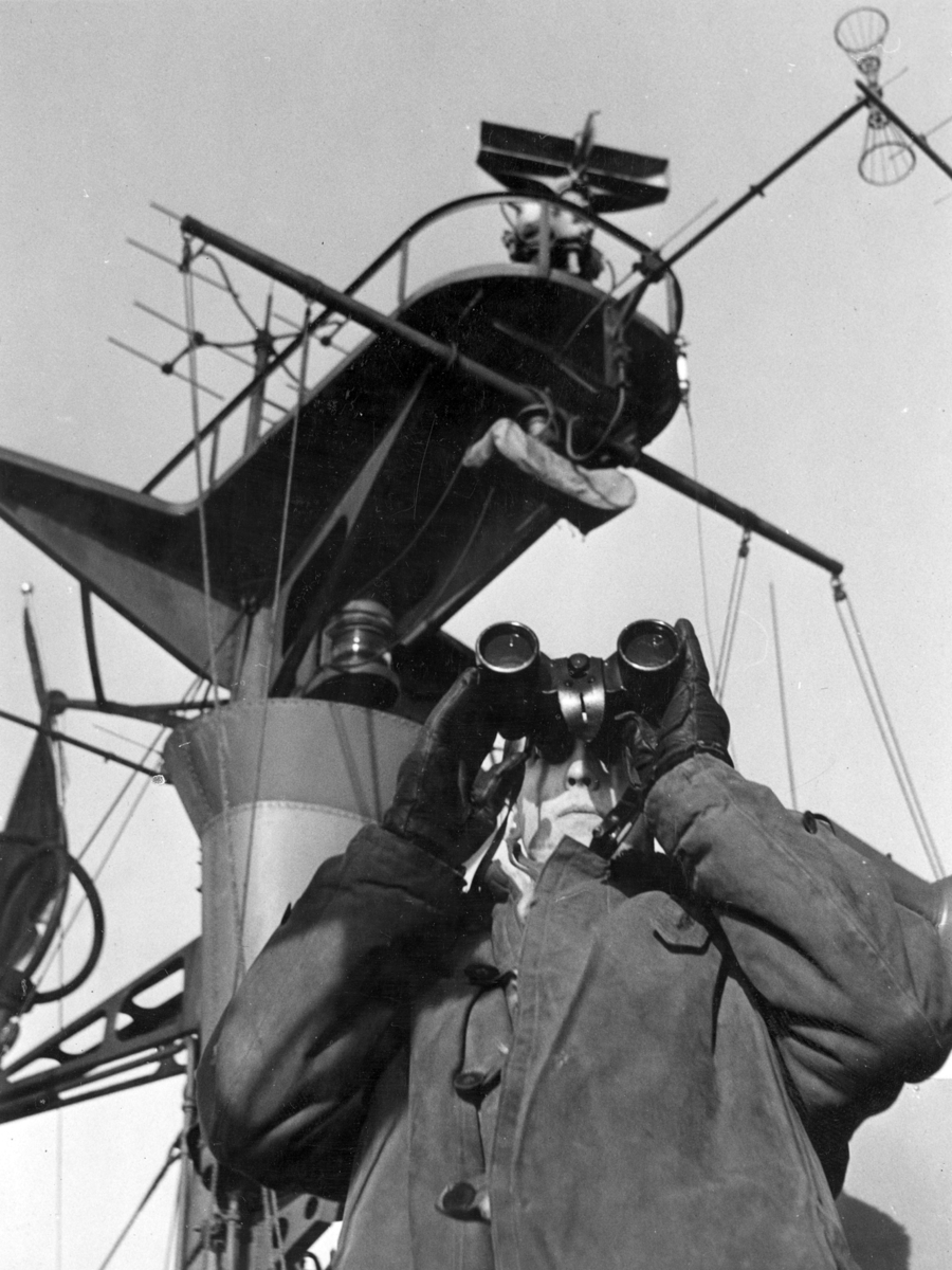 U-båtsspaning på jagaren Visby den 2 dec. 1948. Codenr:052.3, Reg nr: 1906. 47/62