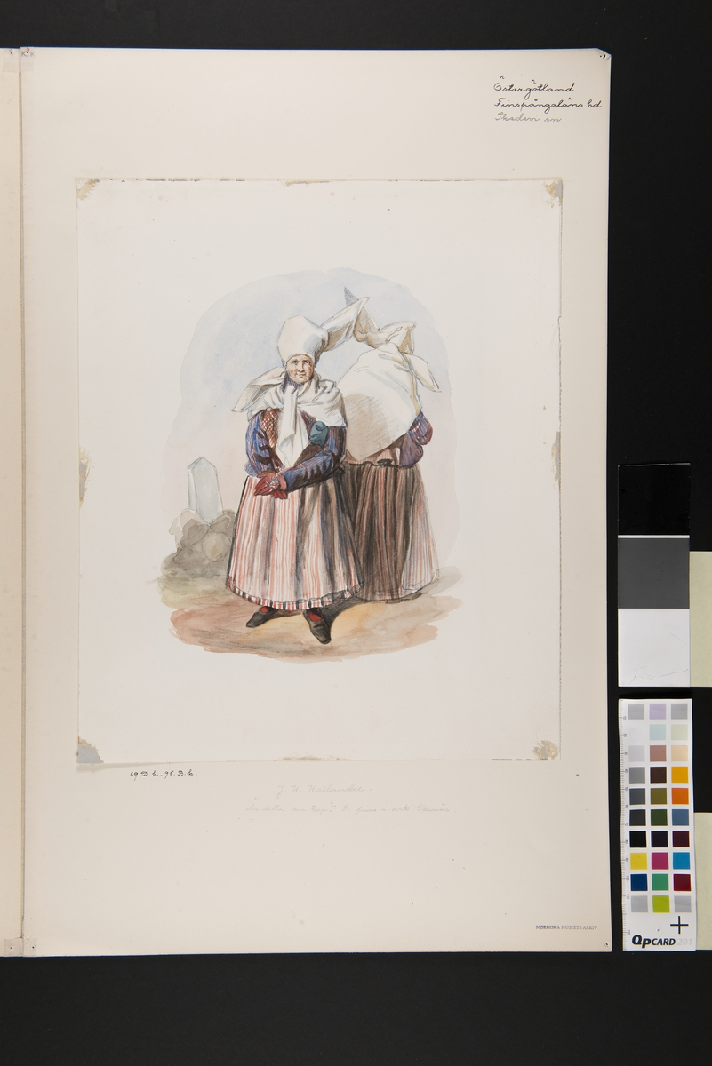 Dräkt. Kvinna fram och bak. Östergötland, Finspång, Skedevi. Akvarell i storformat av J.W Wallander