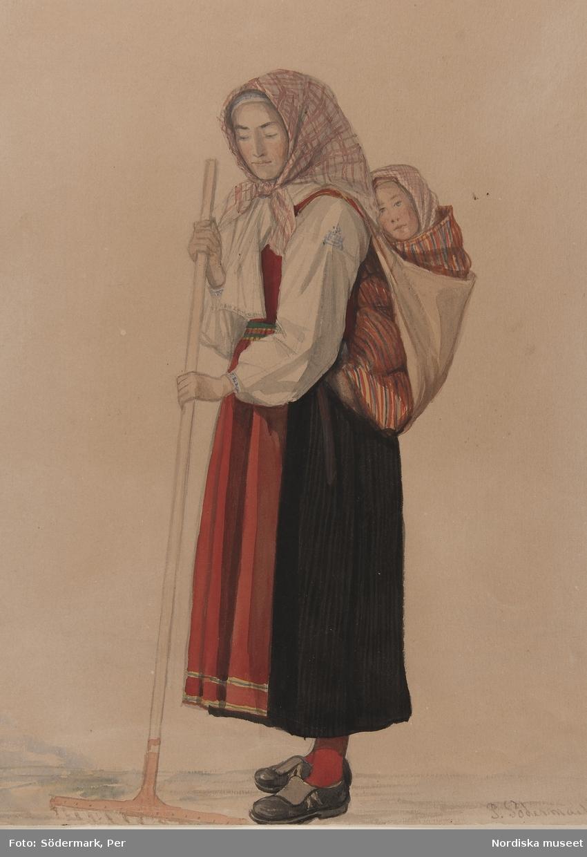 Kvinna med barn på ryggen. Akvarell av P. Södermark