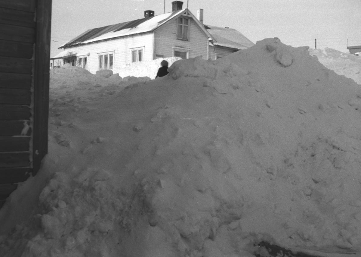 Mye snø rundt husene i Nyborgveien i Vadsø.
