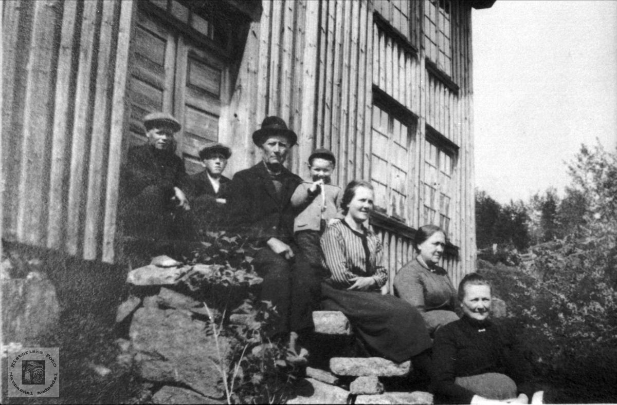 "Røynesdalsfolk på trappa ""Der borte""."