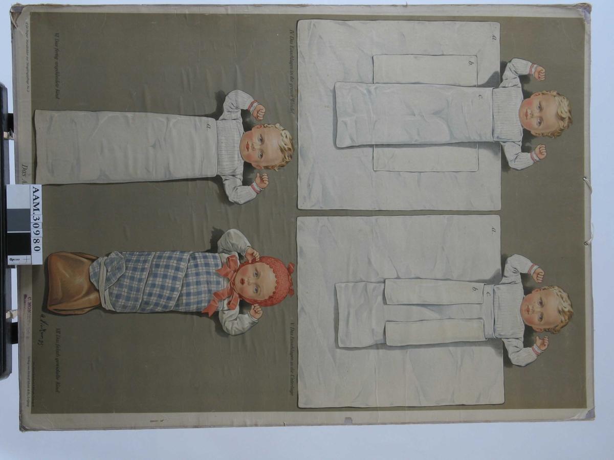 Plansjen viser påkledning av spebarn i 4 trinn.