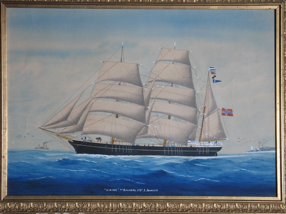 "Seilskute, bark  ""Viking"" af Arendal, Capt. J. Johnsen,  mot venstre, fulle seil, rent norsk flagg"