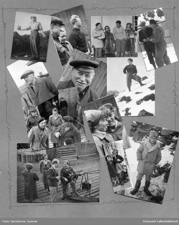 Mange småbilder fra en albumside. Personer og sted er ukjent, men bildene kan være fra Honningsvåg i 1947.
