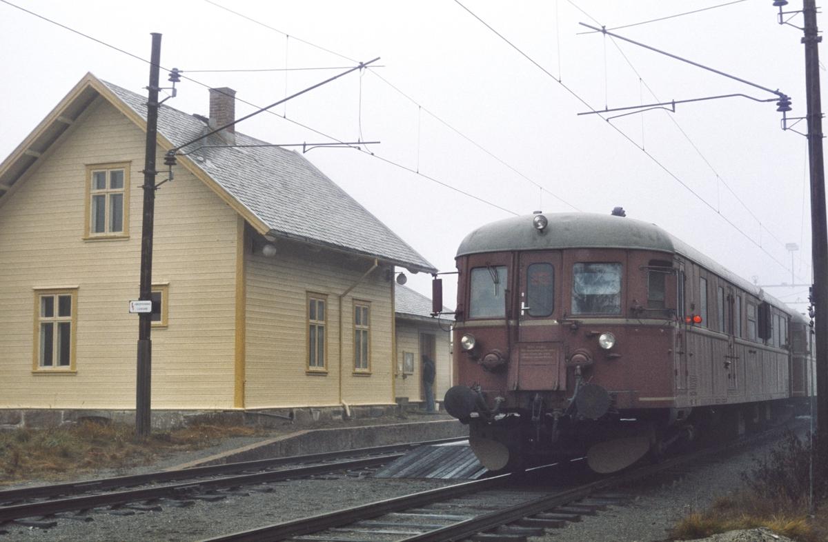 Kutjern stasjon med ekstratog til Skreia for Norsk Jernbaneklubb. NSB styrevogn til dieselmotorvogn BDFS 86 65.