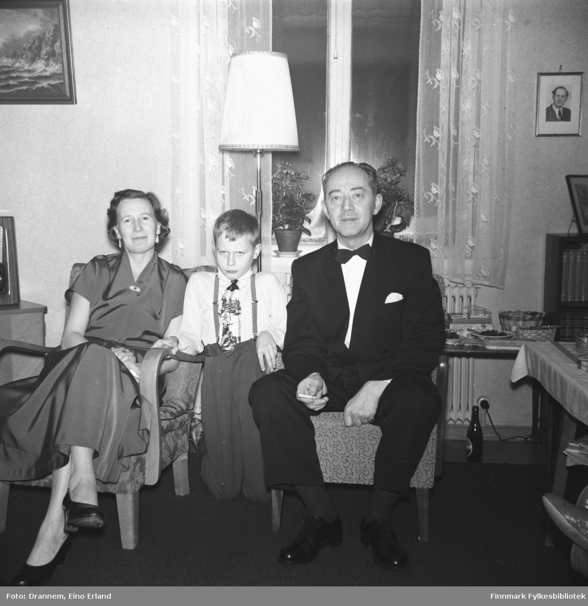 Familien Sørensen, fra venstre Reidun, Gunnar og Olav
