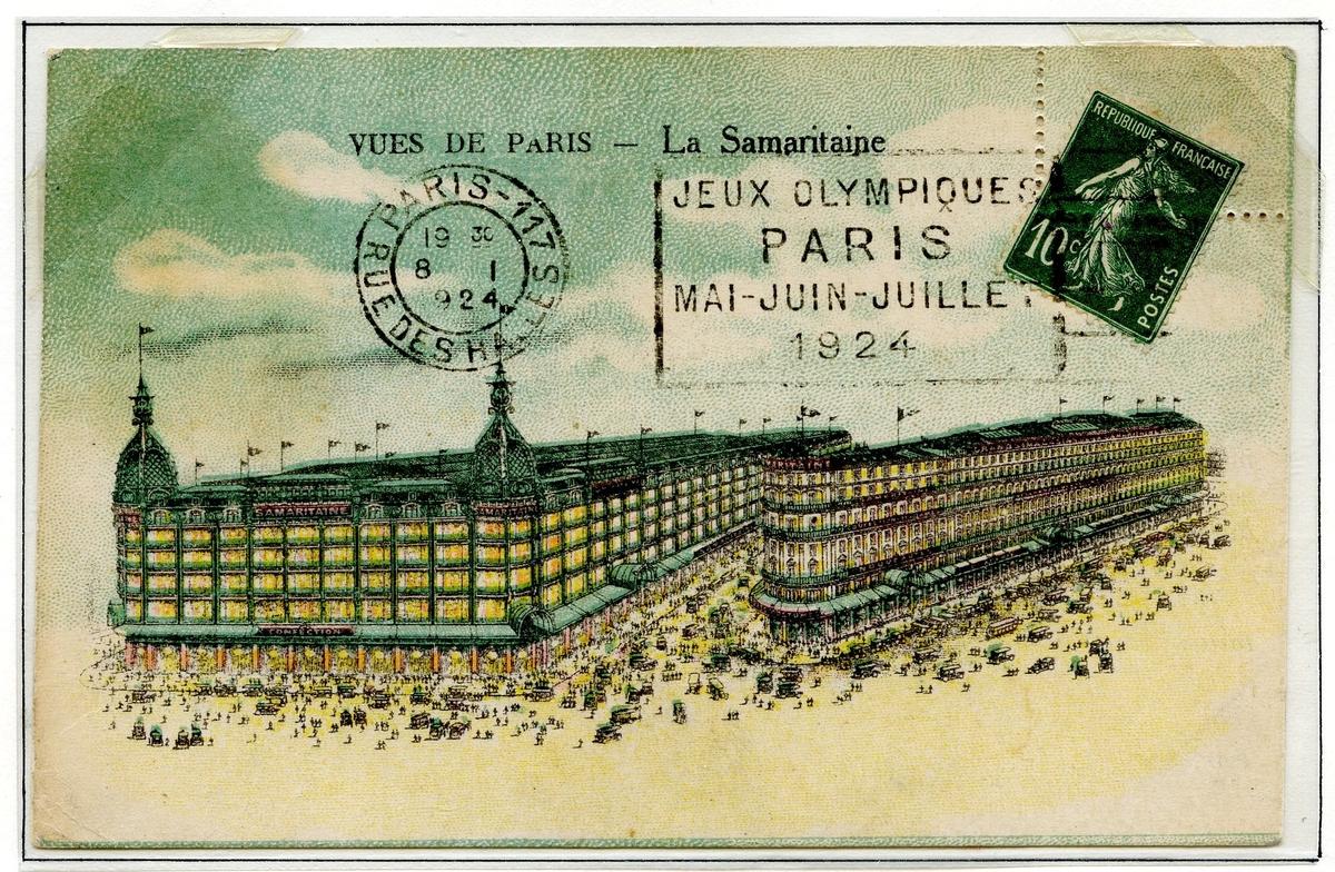 To postkort montert på en albumside. Begge er frankert med ett fransk frimerke (type semeuse). Det andre postkortet har tegning av La Samaritaine, fransk varehus.