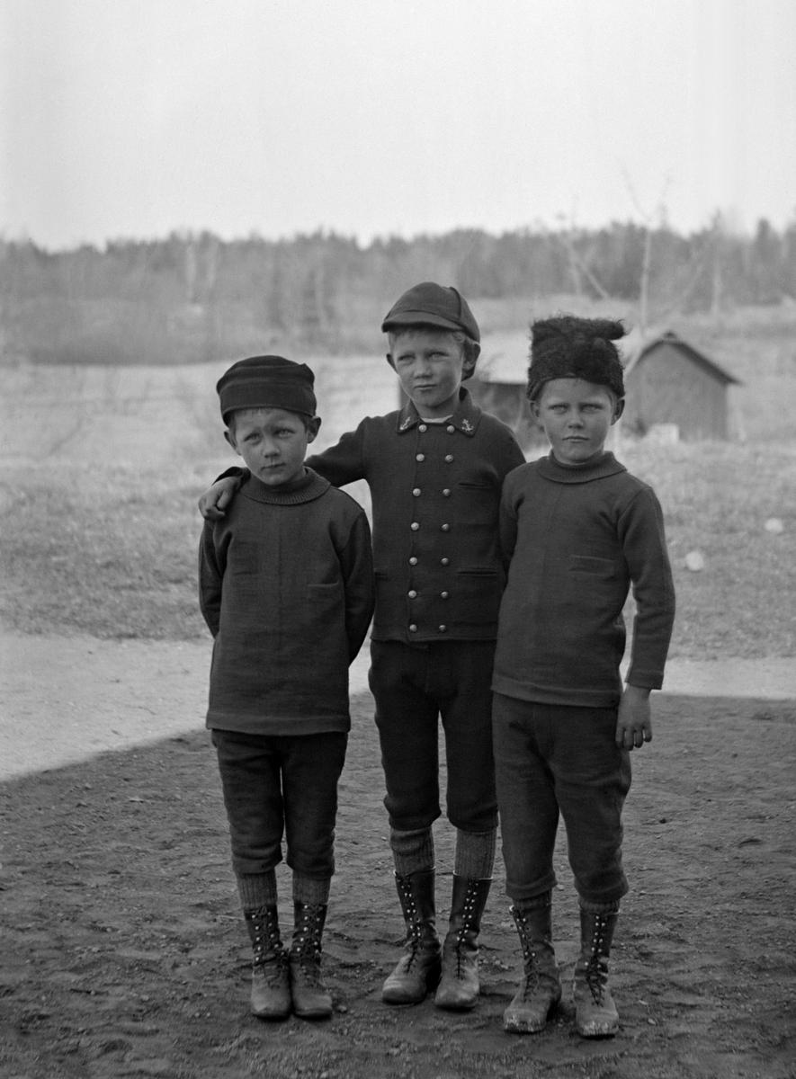 Från vänster i bild poserar bröderna Sigurd, Arne och Uno Hallin. Barn till Karl Johan Hallin och fotograf Durlings syster, Hedvig Maria Bertha Durling. Ladugården i bakgrunden hör till deras hem Ramsdal i Sankt Anna socken. Året är 1894.