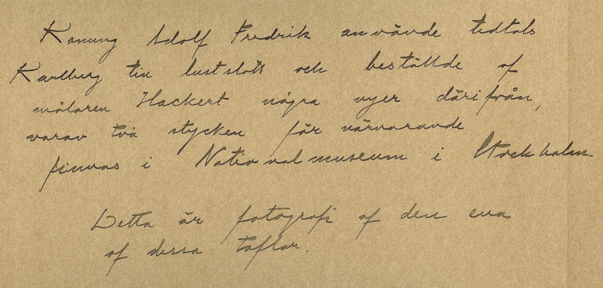 """Text i fotoalbum: """"Dammen i Karlbergsparken, nuvarande Ridplan från Södra sidan år 1760. Konung Adolf Fredrik använde tidtals Karlberg till lustslott och beställde af målaren Hackert några vyer därifrån, varav två stycken närvarande finnas i Nationalmuseum i Stockholm. Detta är fotografi af den ena af dessa taflan""""."""