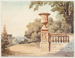 Park - och terassmotiv [Akvarellmålning]