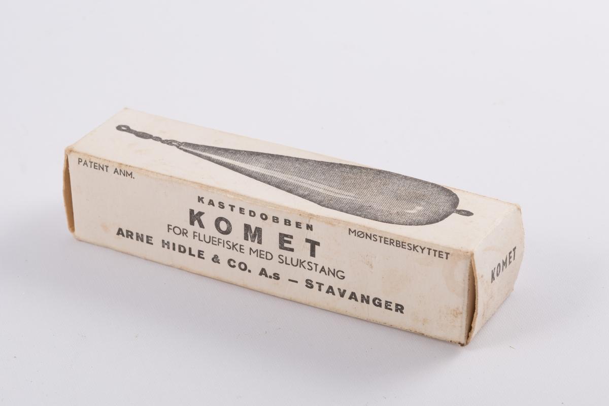 Dupp med dråpeformet sluk i malt treverk, instruksjonsark og originalembalasje