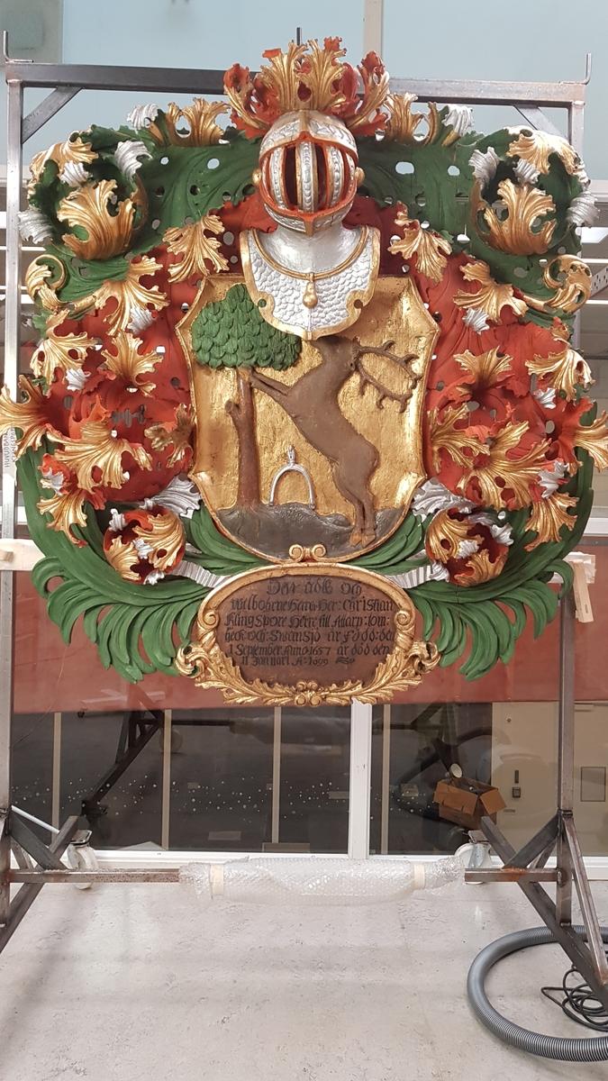 Bankeryds kyrka, Jönköpings kommun. Huvudbaner, Christian Klingspor.  Död 1699.