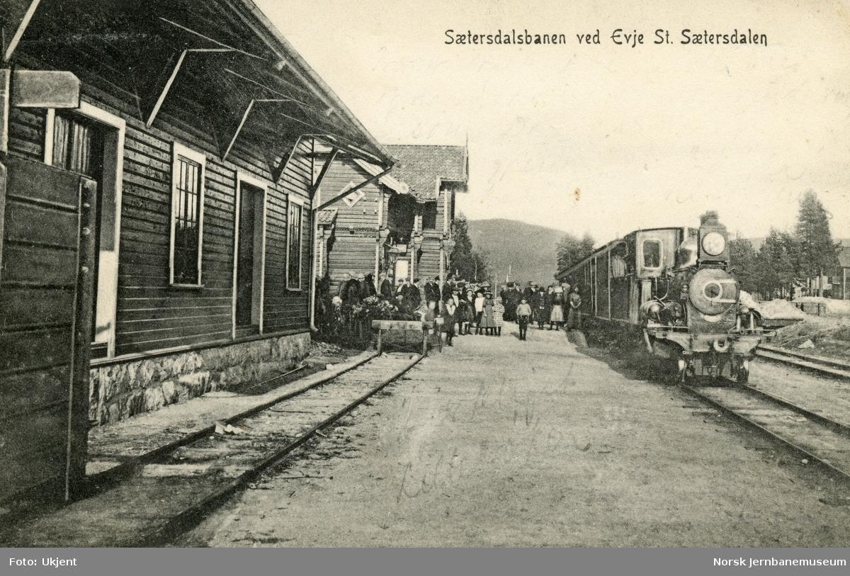 Damplokomotiv type xxi med persontog på Evje stasjon