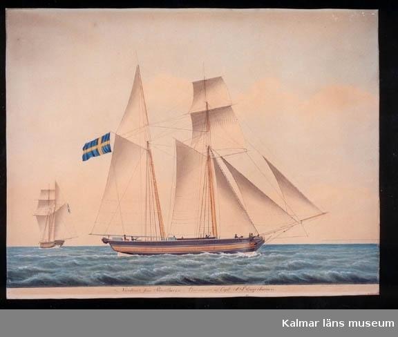 Motivet föreställer ett segelfartyg, skonaren Nicolaus från Påskallavik.   Fartyget byggdes i Påskallavik 1840, byggmästare Blomqvist. Skeppslista 1852: sk 48 sv läster. E&N Callerström, befälhav G Hjelting. 1866 samma redare. Saknas härunder 1875.