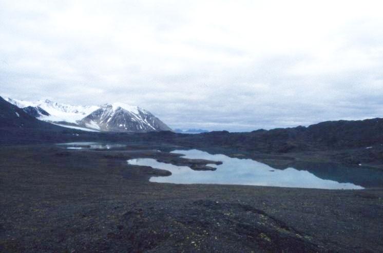 En sjö på Dronning Mauds fjell, Mitrahalvöya, sydvästra Spetsbergen.