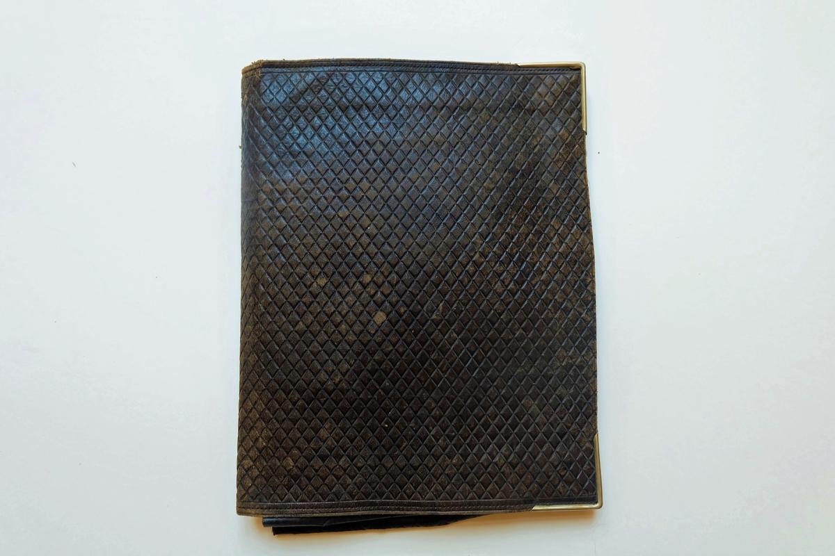 Lädermapp som tillhörde Ester Hammarstedt. Innehåller främst brev till henne men även några brevkort, dokument och en oanvänd almenacka.