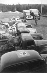 Tyske tropper i Gudbrandsdalen i april 1940. Oppstilt rad av