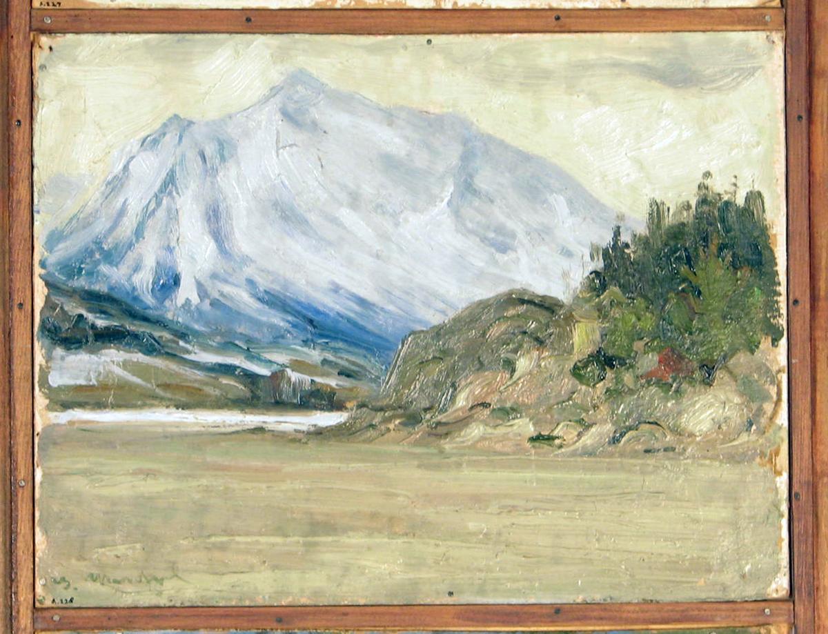 Rektangulær. Skisse; landskap i sneløsning, i forgr. grå elv, snebar knaus, i bakgr. snekledt fjell.