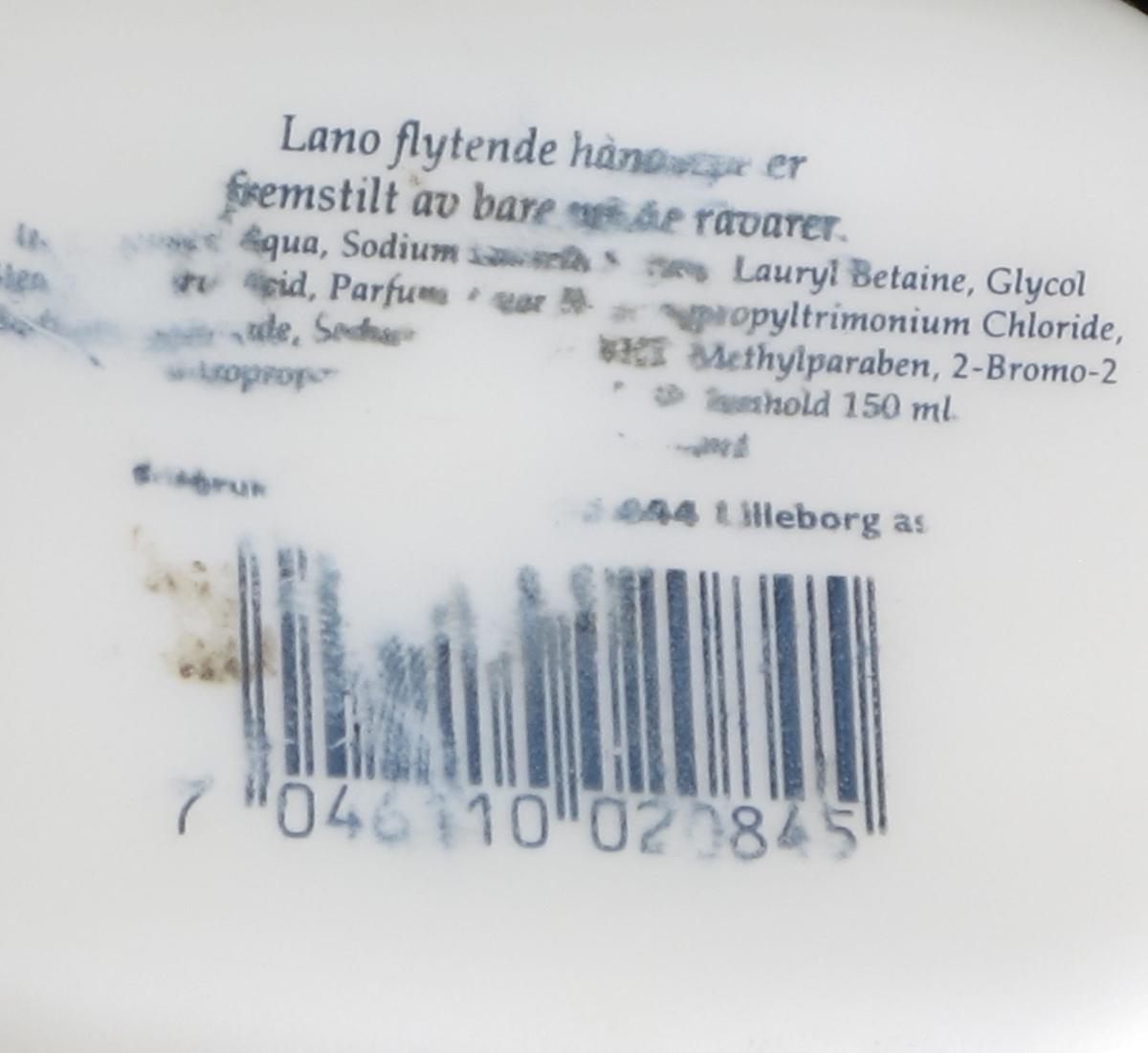 Plastflaske avrundet i formene, liggende, for flytende såpe.
