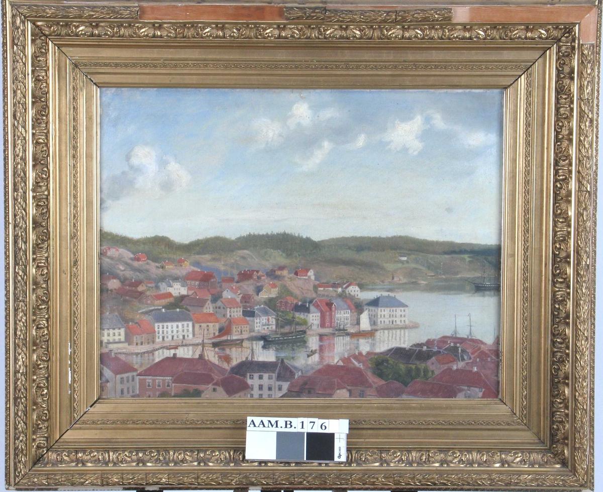 Malt etter fotografi etter bestilling fra Arendals Museum v. kammerherre Christensen i 18¿, med Arendalsfolks direktiver hva husenes farger og detaljer angår.