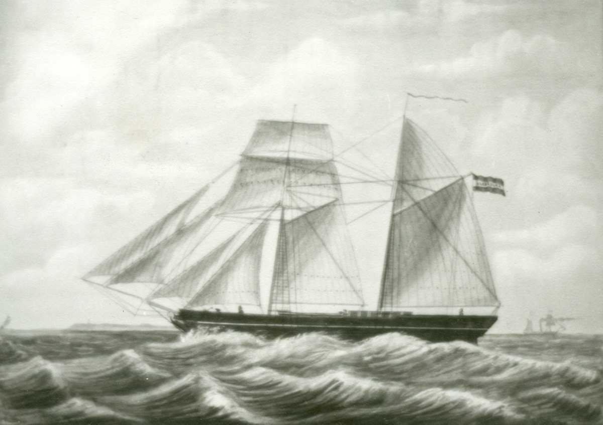 Fartøybilder fra Agder  Navn: Albertina Type: Toppseilsskonnert Tekst: Albertina. Capt. J. G. Olthof, Veendam