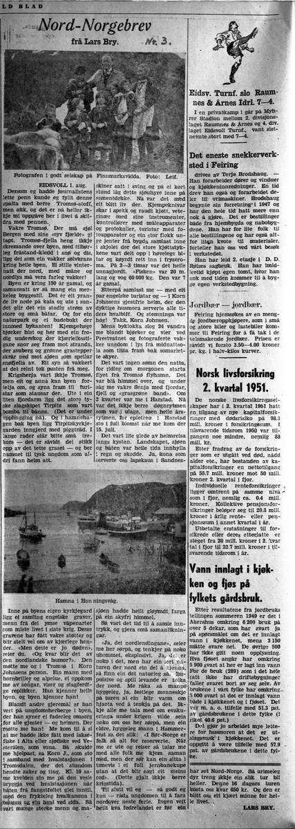 Nord Norge brev nr. 3 – fra Honningsvåg og Finnmarksvidda i Finnmark. Sommeren 1951. Skrevet av Lars Bry.