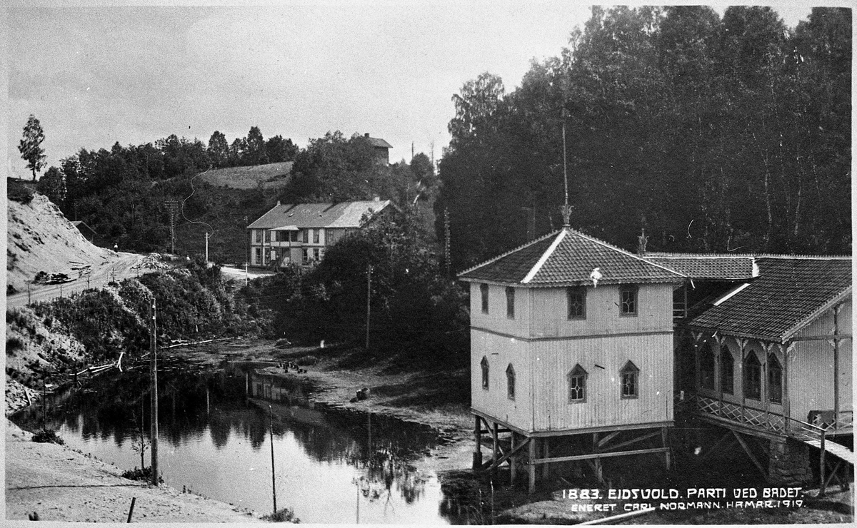Eidsvoll Bad. Badehuset ved Hosevja